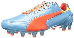 PUMA Men\'s Evospeed 1.2 L Firm Ground Soccer Shoe,Sharks Blue/Fluorescent Peach/Fluorescent Yellow,7 M US
