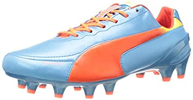 PUMA Men's Evospeed 1.2 L Firm Ground Soccer Shoe,Sharks Blue/Fluorescent Peach/Fluorescent Yellow,7.5 M US