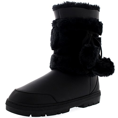 Womens Pom Pom Fully Fur Lined Waterproof Winter Snow Boots, Size 7, Black Leather