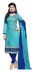 Blissta Aqua Blue Chanderi Unstitched Embroidered Dress Material