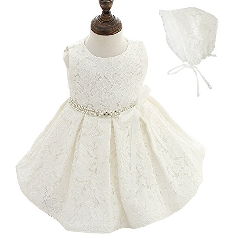 Moon Kitty Baby Girls Dresses Pageant Formal Lace Dress,White,12-15 Months