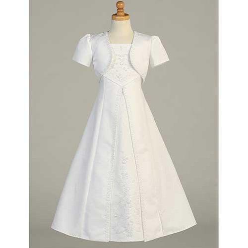 Lito White Satin A-Line First Communion Dress Bolero Set Girls 6-14