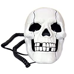 Skeleton Skull Shape Wired Telephone Landline Phone with Led Eyes (White)