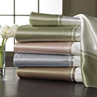 Silk Charmeuse Contrast Hem Sheeting and Pillowcase