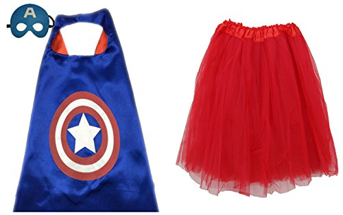 [Superhero TUTU, CAPE, & MASK - Adult Teen Size Womens Complete Halloween Costume (Plus Size Adult Tutu, Captain America - Blue &] (Captain America Costumes For Adults)