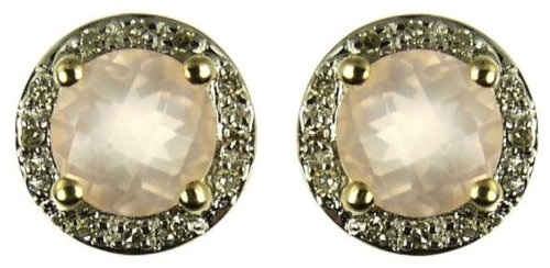 9ct Yellow Gold Ladies' Light Rose Quartz and Diamond Set Stud Earrings