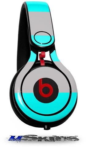 Psycho Stripes Neon Teal And Gray Decal Style Skin (Fits Genuine Beats Mixr Headphones - Headphones Not Included)