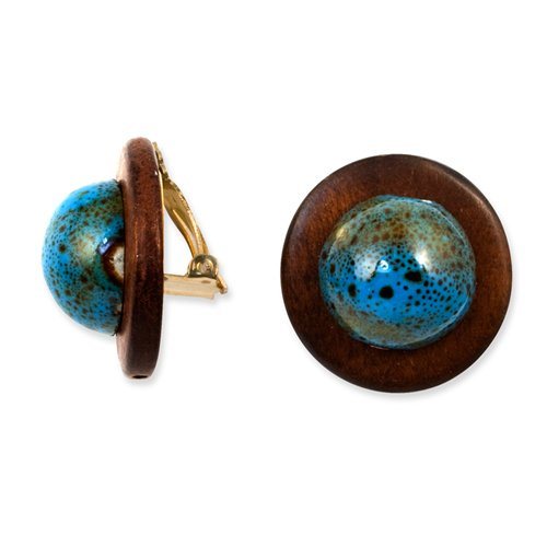 Gold-Tone Enameled Natural Wood 1.25in Clip-On Earrings