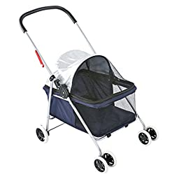 Small Blue Basket-Style Folding Pet Carrier Stroller