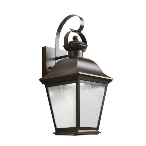 Kichler Lighting 9708Ozled Mount Vernon 17In 10W 3000K Led Exterior Wall Lantern, Olde Bronze Finish With Etched Seedy Glass