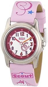 Scout Mädchen-Armbanduhr Analog Quarz Plastik 280301098 mit Pferde-Schlüsselanhänger
