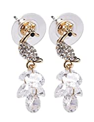 1.1 By Xpressionss Gold Plated Peacock Earring With Floating Zirconia
