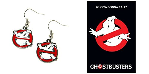 Ghostbusters Movie Logo Silvertone Dangle Earrings
