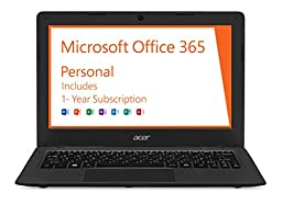 Acer Aspire One Cloudbook, 11-Inch HD, 32GB, Windows 10, Gray (AO1-131-C9PM) includes Office 365 Personal - 1 year  **Discontinued by Manufacturer**