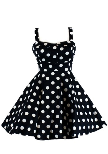 Ixia Polka Dot Fold Over Pinup Dress-Black-Small