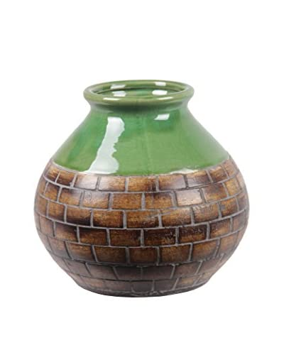 Privilege International Ceramic Vase Brick Pattern, Green