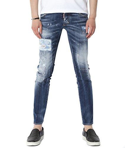 DSquared2 Men's Patch Detailed Damaged Clement Fit Jeans 42 Denim