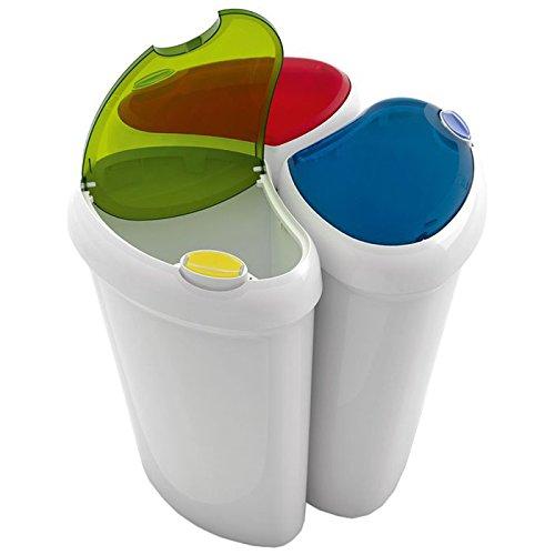 Curver poubelle de 3 compartiments 3253923942088 cuisine - Poubelle trois compartiments ...