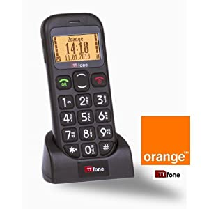 TTfone Jupiter TT800 Black - Orange Pay As You Go - Pre-Pay - PAYG Big Button Easy to use Senior Mobile Phone with Torch / SOS Panic Button / Talking numbers / Large easy to read display and FREE Docking Station for charging