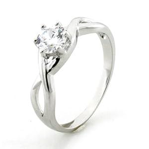 Kostenlose Persönliche Gravur Sterling Silver Infinity Ring w/ Cubic Zirconia Crown - Größe 52 (16.6)