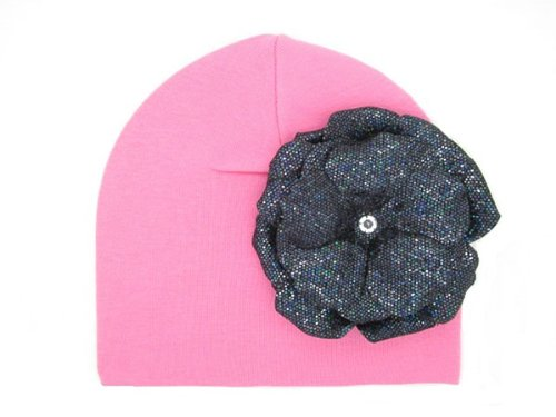 Jamie Rae Candy Pink Knit Hat with Black Sequins Rose