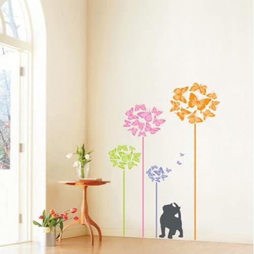 Modern House Kitten Can See Butterfly removable Vinyl Mural Art Wall Sticker Decal