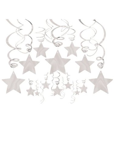 Silver Foil Star Hanging Decorations front-1078104