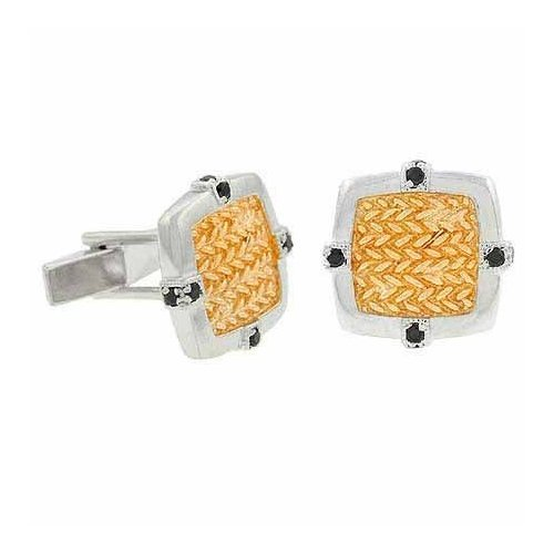 Vermeil (24K Gold over Sterling Silver) and Sterling Silver Two Tone Black cz Cuff Links