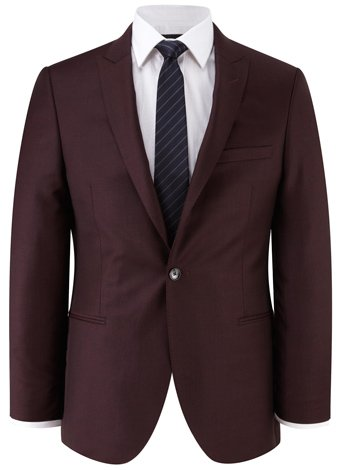Austin Reed Slim Fit Burgundy Sharkskin Jacket REGULAR MENS 40