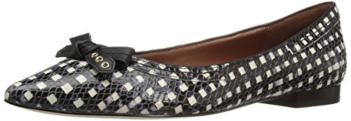 cole-haan-womens-alice-bow-skimmer-pointed-toe-flat-black-white-grid-print-75-b-us
