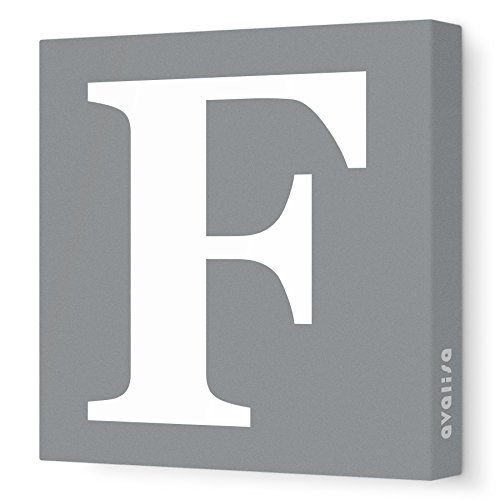 "Avalisa Stretched Canvas Upper Letter F Nursery Wall Art, Grey, 12"" x 12"""