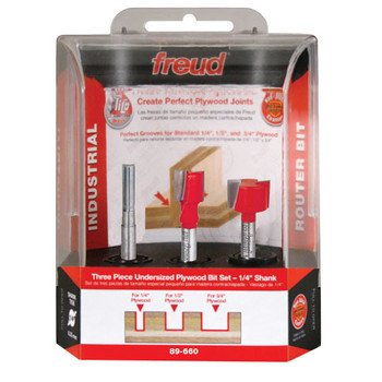 Freud 89-660 Undersized Plywood Router Bit Set 1/4 -Inch Shank, 3-Piece