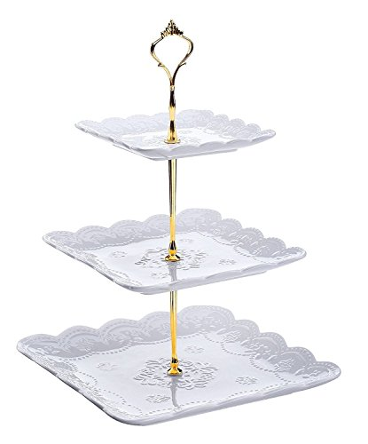 Dowan 3-Tier Porcelain Cupcake Stand/Wedding Cake Stand, Square Serving Platter, White White Square Cake