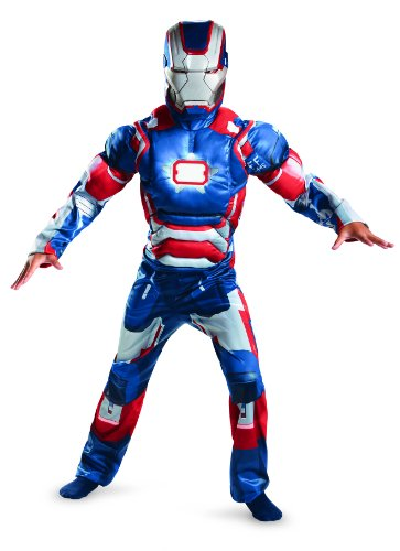 Disguise Marvel Iron Man Movie 3 Iron Patriot Boys Muscle Light Up Costume, 10-12