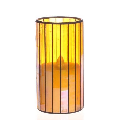 Dfl 3*6 Inch Yellow Vertical Stripes Mosaic Glass With Flameless Led Candle With Timer,Work With 2 C Battery