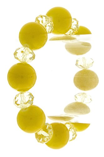 Trendy Fashion Jewelry Candy Bead With Clear Faceted Bead Bracelet By Fashion Destination | (Yellow)