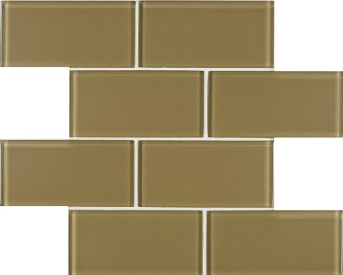Arizona Tile 3 by 6-Inch Skylights Glossy Glass Tile on a 12 by 12-Inch Staggered Mesh, Khaki, 8-Pack