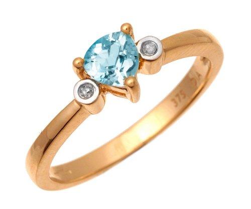 9ct Yellow Gold Triangular Blue Topaz And Diamond 3 Stone Ring