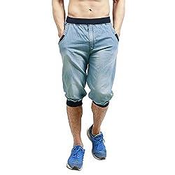 Leg-In Men's Cotton Shorts (L.I 9180 RIB CAPRI_X-Large_Blue)