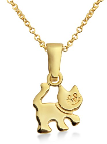 Children's Gold Necklace, 9ct Yellow Gold Kitten Pendant, 36cm + 4cm Extender Chain, by Miore, MK907P