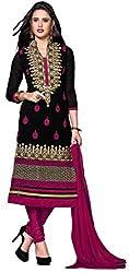 Khushali Presents Chudidar Dress Material(Black,Pink)