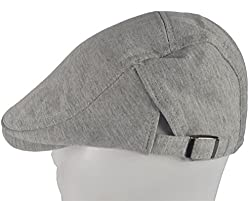 SYAYA Men's Cotton Ivy Newsboy Beret Cap Hat Plain Color DMZ05 (grey white)