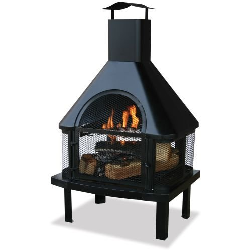 Blue-Rhino-WAF1013C-Black-Firehouse-with-Chimney