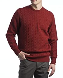 Great and British Knitwear Mens 100% Lambswool Cable & Rib Crew Neck Pullover-Paprika-Large