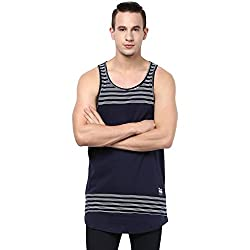 Atorse Mens Navy and white Stripe Cut and Sew Long Casual Sandos