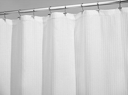 mDesign Herringbone Soft Cotton Blend Fabric Shower Curtain, Luxury Hotel - 72
