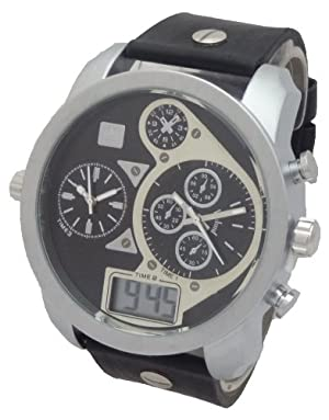 GENEVA Men Quartz Chronograph LOOKING Multi-Time Zone Digital/Analog Watch