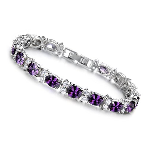 Girl Era Elegant Oval-Cut Amethyst with Genuine Tennis Bracelet Charm Bracelets