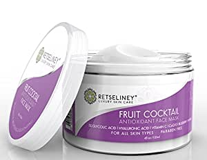 Retseliney Antioxidant Clay Facial Mask, Brightening & Rejuvenating for Dull Skin, Tightens, Pore Reducer, Reduces Wrinkles & Fine Lines with Vitamin C & Glycolic Acid, Organic & Natural Mask