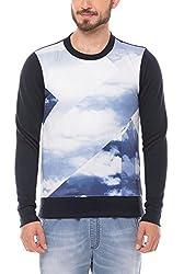 Shuffle Men's Poly Cotton Sweatshirt (8907423024106_2021517601_Large_Navy)